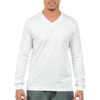 Camiseta Manga Longa Gola V Poliéster Dry