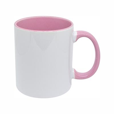 Caneca Branca Interior Rosa
